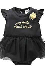 Dítě Dívčí Vintage Narozeniny Jednobarevné Krátké rukávy Bavlna Bodysuit Černá
