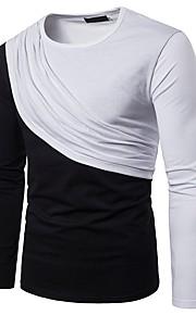 Hombre Básico Retazos Camiseta, Escote Redondo Bloques Negro y Rojo / Blanco y Negro Blanco L / Manga Larga
