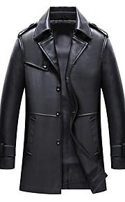 男性用 日常 ストリートファッション 秋冬 ロング レザージャケット, ソリッド ノッチドラペル 長袖 ポリエステル ブラック M / L / XL