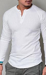 남성용 솔리드 V 넥 티셔츠, 베이직 화이트 XXL / 긴 소매