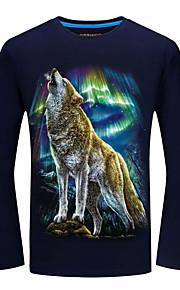 男性用 プリント プラスサイズ Tシャツ ストリートファッション ラウンドネック 動物 オオカミ / 長袖 / 春 / 秋