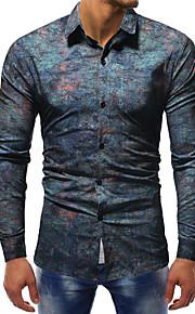 男性用 クラブ - プリント プラスサイズ シャツ ベーシック / ストリートファッション スリム カラーブロック コットン / 長袖