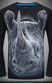 男性用 プラスサイズ Tシャツ ヴィンテージ ラウンドネック スリム 動物 コットン / 長袖
