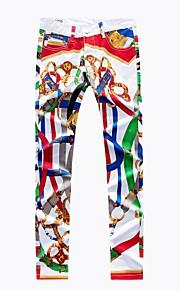 Erkek Sokak Şıklığı Pamuklu İnce Chinos Pantolon - Gökküşağı Desen Gökküşağı / Bahar / Sonbahar