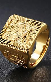 남성용 스타일리쉬 새겨진 인장 반지 18K 골드 Eagle 패션 패션 반지 보석류 골드 제품 일상 이브닝 파티 조절가능