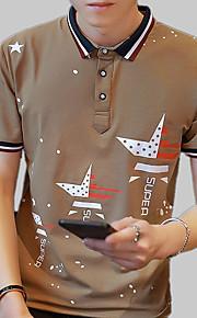 Муж. Пэчворк / С принтом Футболка Хлопок, Рубашечный воротник Тонкие Однотонный / Полоски / Буквы Серый XXL / С короткими рукавами