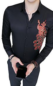 Муж. Рубашка Классический воротник Тонкие Контрастных цветов Белый XL / Длинный рукав / Лето