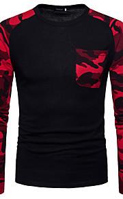 Herrn camuflaje - Grundlegend Baumwolle T-shirt, Rundhalsausschnitt Schlank Grün L / Langarm