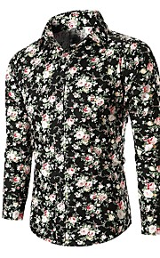男性用 シャツ ベーシック フラワー / カラーブロック コットン / 長袖