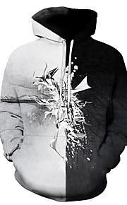 男性用 活発的 プラスサイズ パンツ - 幾何学模様 / 3D プリント グレー / フード付き / 長袖 / 秋 / 冬