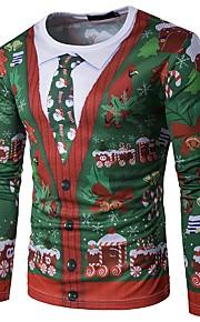 男性用 クリスマス Tシャツ ラウンドネック スノーフレーク柄 スノーフレーク / 長袖 / 秋 / 冬