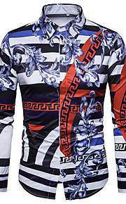 男性用 クラブ - プリント プラスサイズ シャツ ヴィンテージ / ストリートファッション / パンク&ゴシック スリム カラーブロック / 長袖