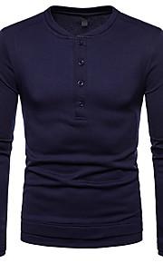 Hombre Básico Camiseta, Escote Redondo Un Color Gris Oscuro L / Manga Larga