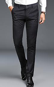 男性用 ベーシック プラスサイズ コットン スリム スーツ パンツ - ソリッド ブラック