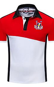 男性用 Polo シャツカラー カラーブロック コットン / 長袖