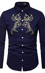 男性用 ワーク - 刺繍 シャツ ビジネス / ヴィンテージ / ベーシック スリム ソリッド / カラーブロック / 長袖