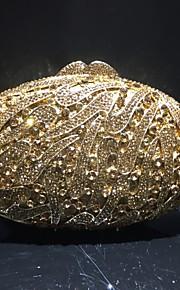 Naisten Kristallikoristelu / Reikäkuvio Iltalaukku Rhinestone Crystal iltapusseja Metalliseos Yhtenäinen väri Kulta / Syystalvi