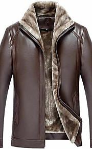 Муж. Повседневные Классический Зима Обычная Кожаные куртки, Однотонный Отложной Длинный рукав Полиуретановая Коричневый / Черный XL / XXL / XXXL