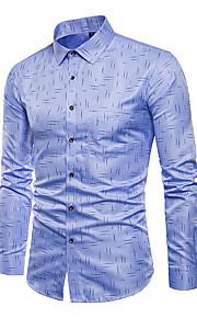 男性用 プラスサイズ シャツ ビジネス / ベーシック 幾何学模様 コットン / 長袖 / ワーク / レギュラーカラー