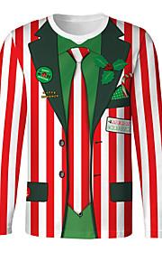 Муж. Рождество Футболка Круглый вырез Тонкие Уличный стиль Полоски / Мультипликация Красный M / Длинный рукав