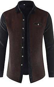 男性用 パッチワーク シャツ ベーシック カラーブロック