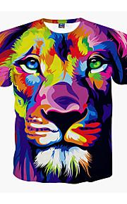 男性用 プリント プラスサイズ Tシャツ ラウンドネック 動物 ライオン / 半袖