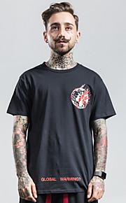 Hombre Chic de Calle Estampado Camiseta, Escote Redondo Letra Blanco M / Manga Corta