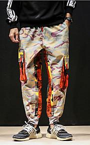 男性用 ストリートファッション ルーズ チノパン / カーゴパンツ パンツ - カモフラージュ ブルー