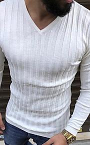 Ανδρικά T-shirt Κομψό στυλ street Μονόχρωμο Λαιμόκοψη V Μπεζ XL / Μακρυμάνικο
