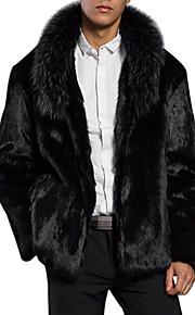 男性用 日常 レギュラー ファーコート, ソリッド ショールラペル 長袖 フェイクファー ブラック XL / XXL / XXXL