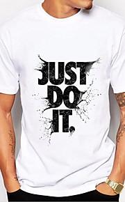 Hombre Básico Estampado - Algodón Camiseta, Escote Redondo Letra Blanco y Negro Blanco XL / Manga Corta