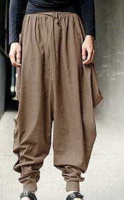 Hombre Chic de Calle Tallas Grandes Corte Ancho Pantalones de Deporte / Pantalones tipo cargo Pantalones - Un Color Negro