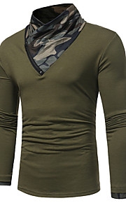 T-shirt Per uomo Moda città Camouflage A collo alto Bianco XL / Manica lunga