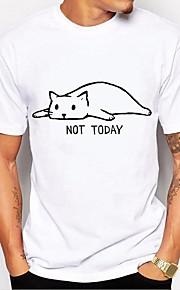 男性用 プリント Tシャツ ベーシック 動物 / レタード ブラック&ホワイト