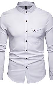 Hombre Negocios / Básico Trabajo Estampado Camisa, Cuello Mao Un Color Wine L / Manga Larga