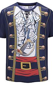 Ανδρικά T-shirt Βασικό / Εξωγκωμένος 3D / Κινούμενα σχέδια Στρογγυλή Λαιμόκοψη Στάμπα Βαθυγάλαζο L / Κοντομάνικο / Καλοκαίρι