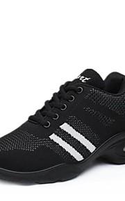 여성용 댄스 스니커즈 니트 스니커즈 두꺼운 발 뒤꿈치 주문제작 가능 댄스 신발 블랙 / 블랙 / 레드 / 블랙 / 화이트