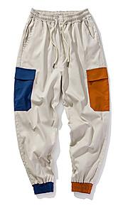 男性用 ストリートファッション チノパン / カーゴパンツ パンツ - カラーブロック ブラック