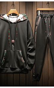 Муж. Классический Толстовка / Activewear Set - Однотонный / камуфляж