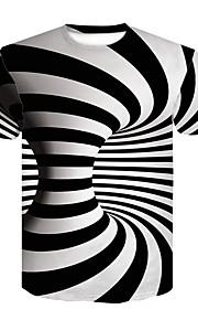Муж. Для клуба С принтом Футболка Круглый вырез Классический / Уличный стиль Контрастных цветов / 3D Черное и белое Белый XXL / С короткими рукавами / Лето