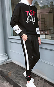 Муж. Тонкие Длинный рукав Activewear Set - Геометрический принт Капюшон