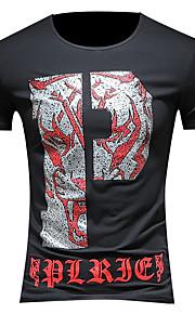 Hombre Chic de Calle Tallas Grandes Camiseta, Escote Redondo Letra Blanco XXL / Manga Corta