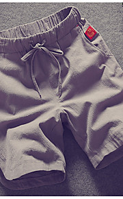男性用 プラスサイズ ショーツ パンツ - カラーブロック ホワイト