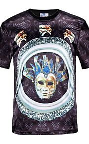 男性用 Tシャツ ラウンドネック スリム グラフィック コットン / 半袖