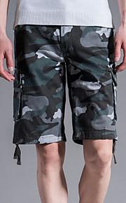 男性用 ストリートファッション プラスサイズ ショーツ パンツ - カモフラージュ グレー