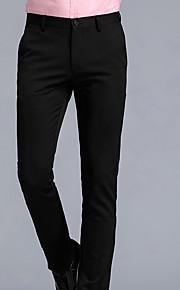 男性用 ベーシック プラスサイズ コットン スーツ パンツ - ソリッド ブルー
