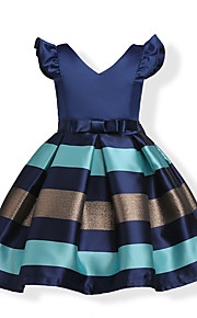 아동 / 토들러 여아 리본 / 단 파티 / 홀리데이 블루 솔리드 / 줄무늬 짧은 소매 면 드레스 블러슁 핑크