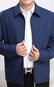 男性用 日常 春 レギュラー ジャケット, ソリッド 折襟 長袖 ポリエステル ブラック / ネイビーブルー / ネービーブルー XL / XXL / XXXL