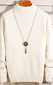 Муж. Однотонный Пуловер Осень Верблюжий / Серый / Светло-зеленый XL / XXL / XXXL