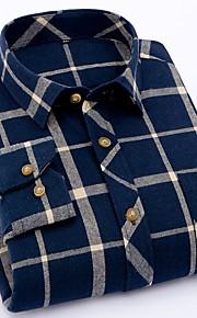 メンズプラスサイズのコットンシャツ - 千鳥格子シャツの襟